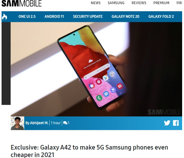 三星入门级5G手机Galaxy A42曝光 打入中低端5G 手机战场的一把剑